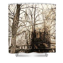 Church On Canal In Brugge Belgium Shower Curtain by PainterArtist FIN