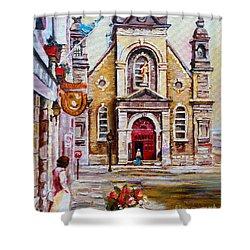 Church On Sunday Shower Curtain by Carole Spandau