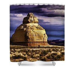Shower Curtain featuring the painting Church Rock  by Muhie Kanawati