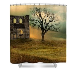 Church Ruin With Stormy Skies Shower Curtain