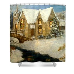 Church Snow Paintings Shower Curtain