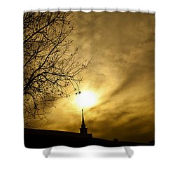 Shower Curtain featuring the photograph Church Steeple Clouds Parting by Jerry Cowart