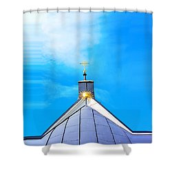 Church Top With Sun And Cross Shower Curtain by Tommytechno Sweden