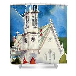 Church With Jet Contrail Shower Curtain