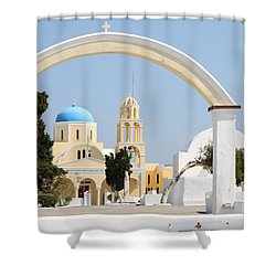 Churches Oia Santorini Greek Islands Shower Curtain by Carole-Anne Fooks