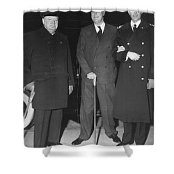Churchill And Roosevelt Shower Curtain by Underwood Archives