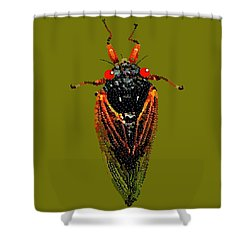Cicada In Green Shower Curtain