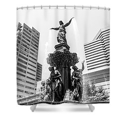 Cincinnati Fountain Black And White Picture Shower Curtain by Paul Velgos