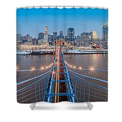 Cincinnati From On Top Of The Bridge Shower Curtain by Keith Allen