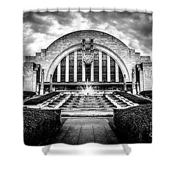 Cincinnati Museum Center Black And White Picture Shower Curtain by Paul Velgos