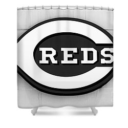 Cincinnati Reds Sign Black And White Picture Shower Curtain by Paul Velgos
