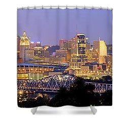 Cincinnati Skyline At Dusk Sunset Color Panorama Ohio Shower Curtain