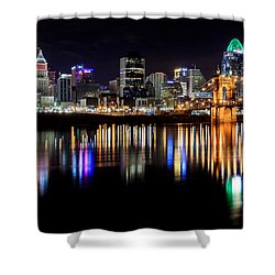 Cincinnati Skyline In Christmas Colors Shower Curtain by Keith Allen