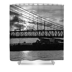 Cincinnati Suspension Bridge Black And White Shower Curtain by Mary Carol Story