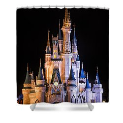 Cinderella's Castle In Magic Kingdom Shower Curtain by Adam Romanowicz