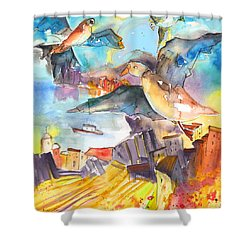 Cinque Terre 05 Shower Curtain by Miki De Goodaboom
