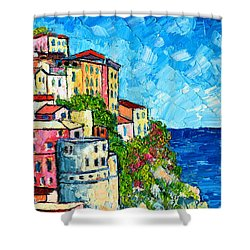 Cinque Terre Italy Manarola Painting Detail 3 Shower Curtain by Ana Maria Edulescu