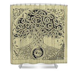 Circle Celtic Tree Of Life Inked Shower Curtain