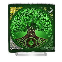 Circle Celtic Tree Of Life Shower Curtain by Kristen Fox
