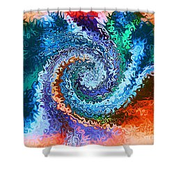 Shower Curtain featuring the digital art Circle Of Colors Abstract Art by Annie Zeno