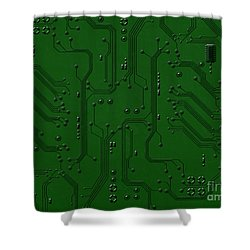 Circuit Board Shower Curtain by Bedros Awak