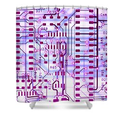 Circuit Trace II Shower Curtain by Jerry McElroy