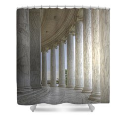 Circular Colonnade Of The Thomas Jefferson Memorial Shower Curtain by Shelley Neff