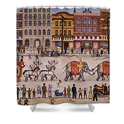 Circus Parade Shower Curtain by Linda Mears