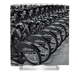 Citi Bikes Bw Shower Curtain