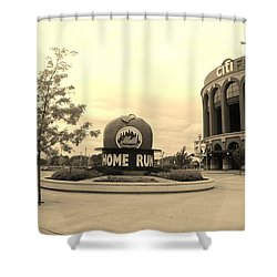 Citi Field In Sepia Shower Curtain by Rob Hans