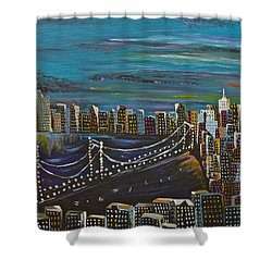 Citiscape Shower Curtain by Donna Blossom