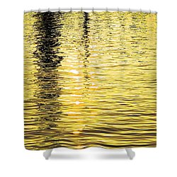 Citrine Ripples Shower Curtain by Chris Anderson
