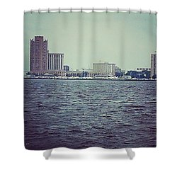 Shower Curtain featuring the photograph City Across The Sea by Thomasina Durkay