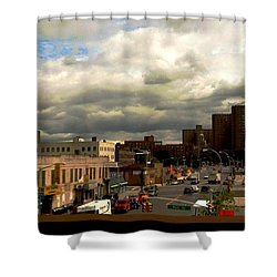 Shower Curtain featuring the photograph City And Sky by Miriam Danar