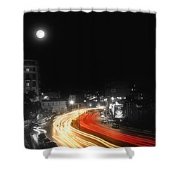 City And The Moon Shower Curtain by Taylan Apukovska
