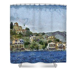 City By The Sea Shower Curtain by Ayse Deniz