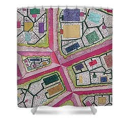 Shower Curtain featuring the digital art City Circuits by Carol Jacobs