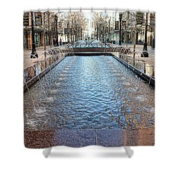Shower Curtain featuring the photograph City Creek Fountain - 1 by Ely Arsha