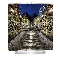 Shower Curtain featuring the photograph City Creek Fountain - 2 by Ely Arsha