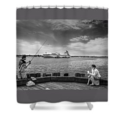 City Fishing Shower Curtain by Bob Orsillo