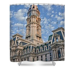 City Hall Clock Tower Downtown Phila Pa Shower Curtain