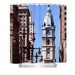 Shower Curtain featuring the photograph Philadelphia City Hall From Broad St by Christopher Woods