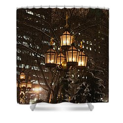 City Hall Park Lights Shower Curtain