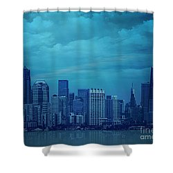 City In Blue Shower Curtain by Bedros Awak