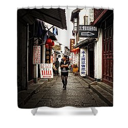 Shower Curtain featuring the photograph City Life In Ancient China by Lucinda Walter