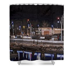 Shower Curtain featuring the painting City Lights by Bonnie Heather