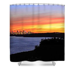 Shower Curtain featuring the photograph City Lights In The Sunset by Miroslava Jurcik