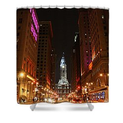 Shower Curtain featuring the photograph Philadelphia City Lights by Christopher Woods
