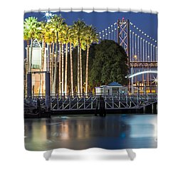 Shower Curtain featuring the photograph City Lights On Mission Bay by Kate Brown