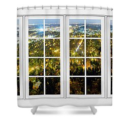 City Lights White Window Frame View Shower Curtain by James BO  Insogna